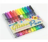 Długopis żelowy trójkątny z brokatem 12 kolorów