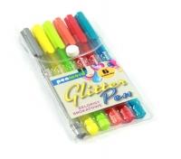 Długopis żelowy trójkątny z brokatem 6 kolorów
