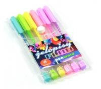 Długopis żelowy trójkątny 6 kolorów fluo