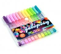 Długopis żelowy trójkątny 12 kolorów fluo