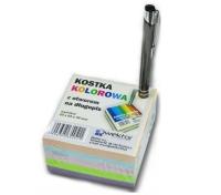 kostka biurowa kolorowa z otworem na długopis